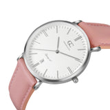 36mm Garment TL13613 White Silver Pink Leather Women's Watch