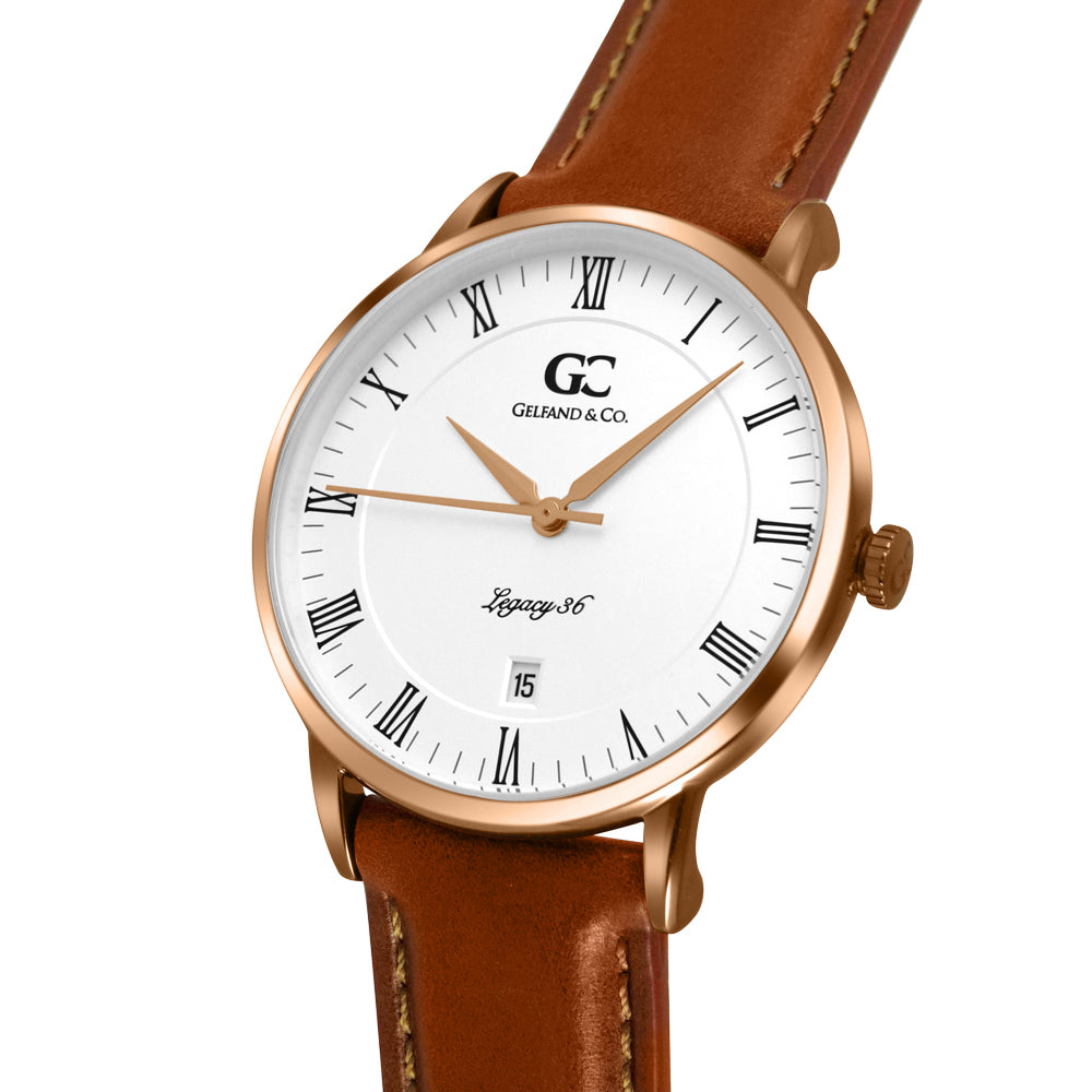36mm Greenwich RN13605 White Rose Gold Light Brown Leather Women's Watch