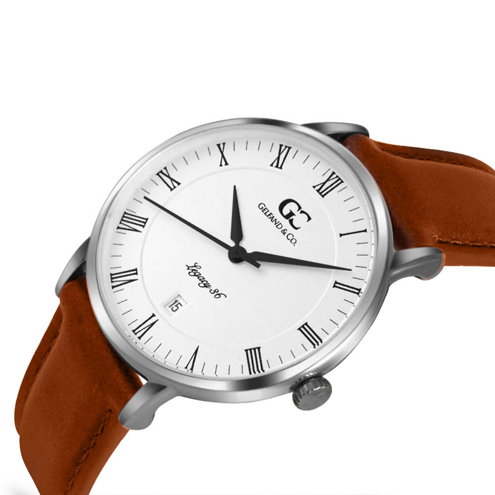 36mm Greenwich RN13605 White Silver Light Brown Leather Women's Watch