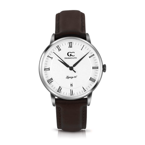 36mm Horatio RN13609 White Silver Dark Brown Leather Women's Watch