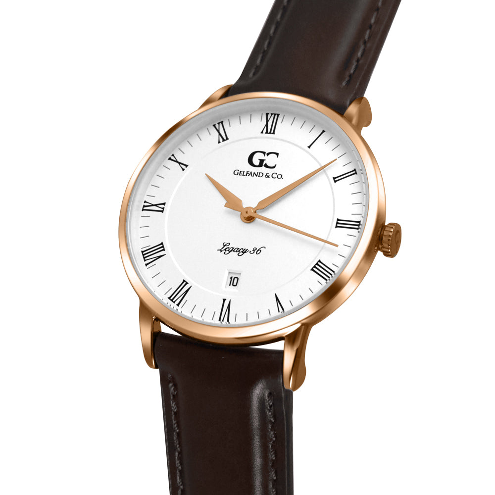36mm Horatio RN13610 White Rose Gold Dark Brown Leather Women's Watch