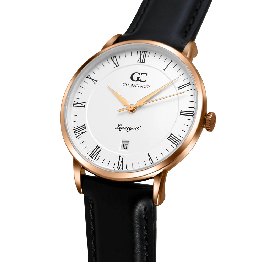 36mm Hudson RN13602 White Rose Gold Black Leather Women's Watch