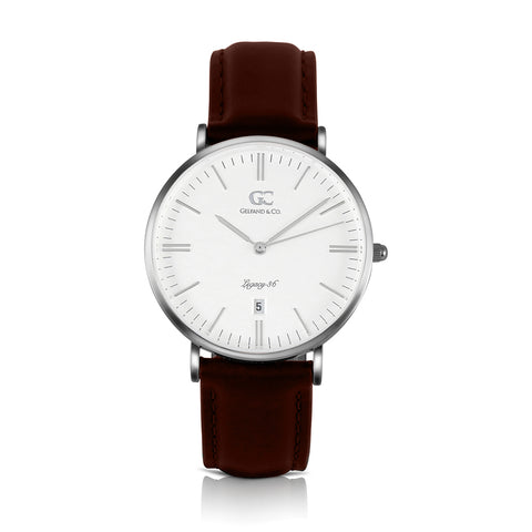 36mm Jane TL13609 White Silver Dark Brown Leather Women's Watch