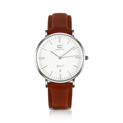 36mm Joyce TL13607 White Silver Medium Brown Leather Women's Watch