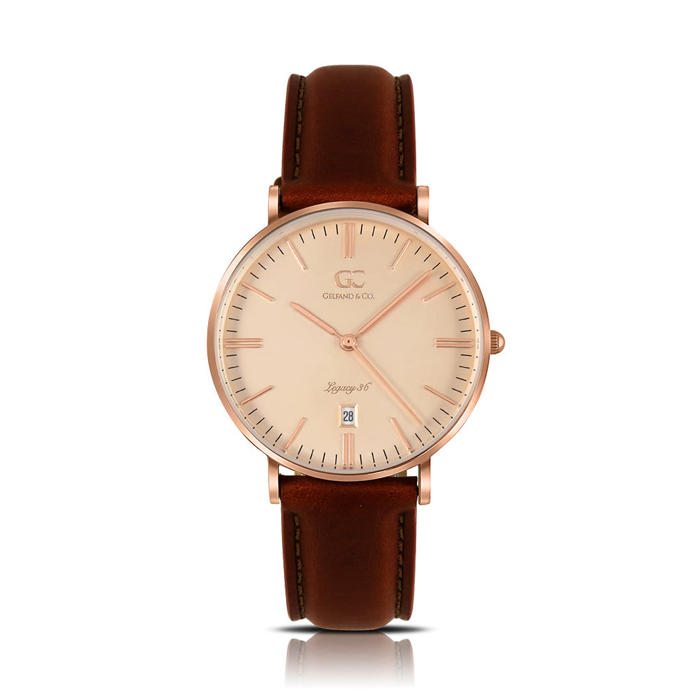 36mm Kenmare TL13646 Peach Rose Gold Brown Leather Strap Women's Watch