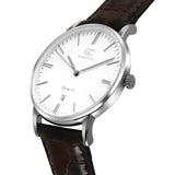 36mm Madison TL13611 White Silver Brown Crocodile Leather Women's Watch