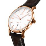 36mm Madison TL13612 White Rose Gold Brown Crocodile Leather Women's Watch