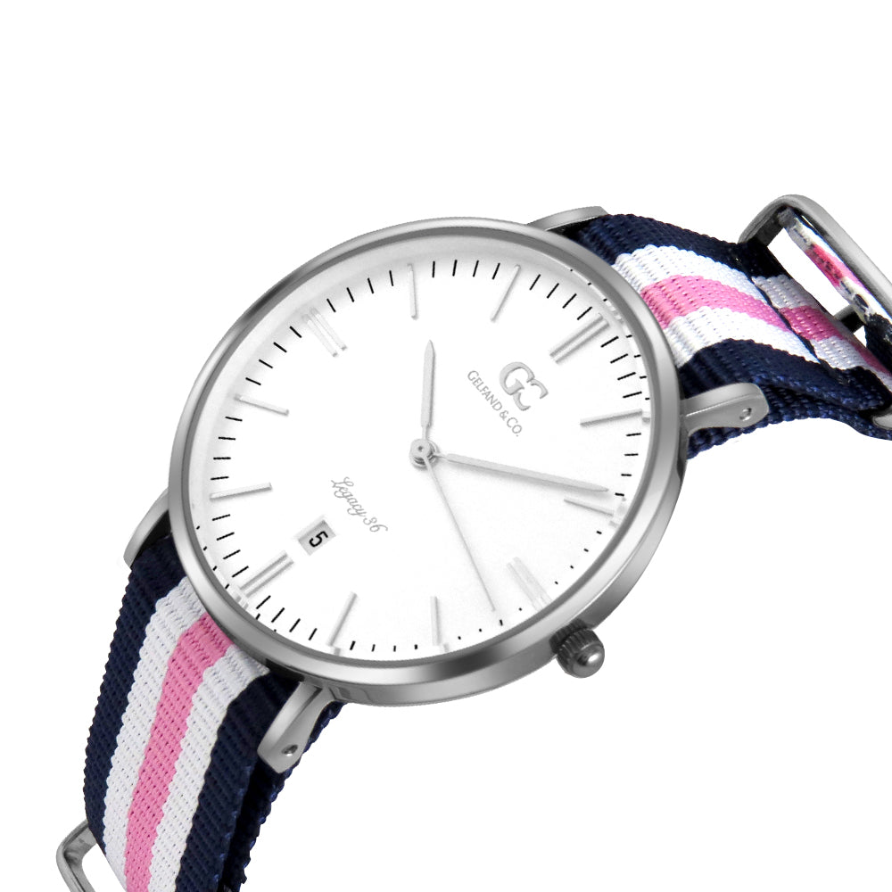 36mm Morris TL13623 White Silver Pink White Navy Blue Mesh Nylon Nato Strap Women's Watch