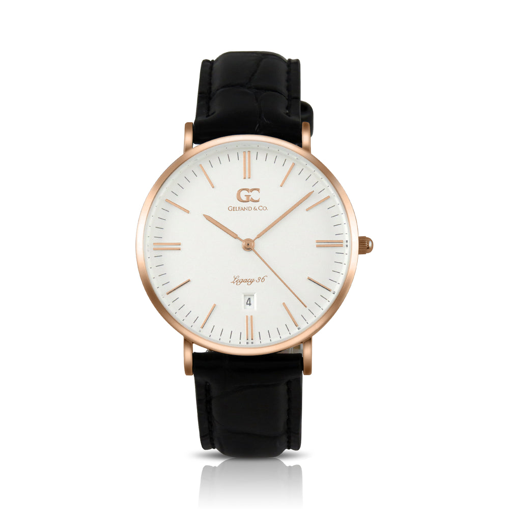 36mm Murray TL13604 White Rose Gold Black Crocodile Leather Women's Watch
