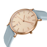 36mm Norfolk TL13654 Peach Rose Gold Baby Blue Leather Strap Women's Watch