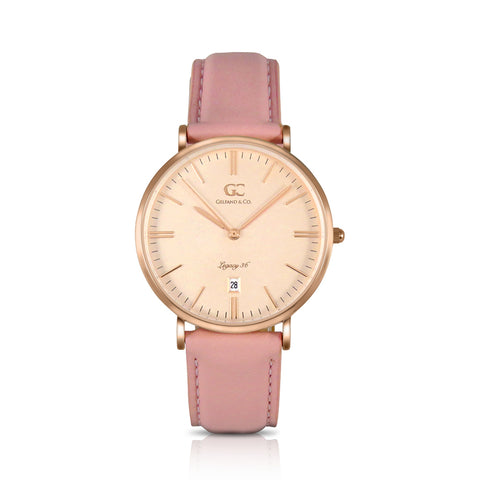 36mm Orchard TL13647 Peach Rose Gold Pink Leather Strap Women's Watch