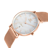 36mm Parson TL13640 White Pearl Rose Gold Mesh Strap Women's Watch
