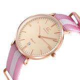 36mm Renwick TL13660 Peach Rose Gold Pink White Nylon Nato Band Strap Women's Watch