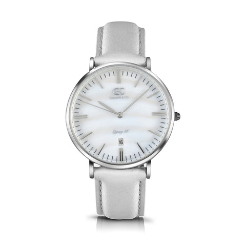 36mm Spring TL13629 White Pearl Silver White Leather Women's Watch