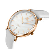 36mm Spring TL13630 White Pearl Rose Gold White Leather Women's Watch