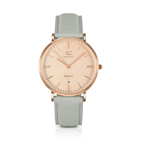 36mm Stanton TL13652 Peach Rose Gold Light Gray Leather Strap Women's Watch