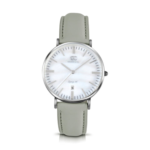 36mm Trimble TL13635 White Pearl Silver Light Gray Leather Women's Watch
