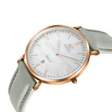 36mm Trimble TL13636 White Pearl Rose Gold Light Gray Leather Women's Watch -1