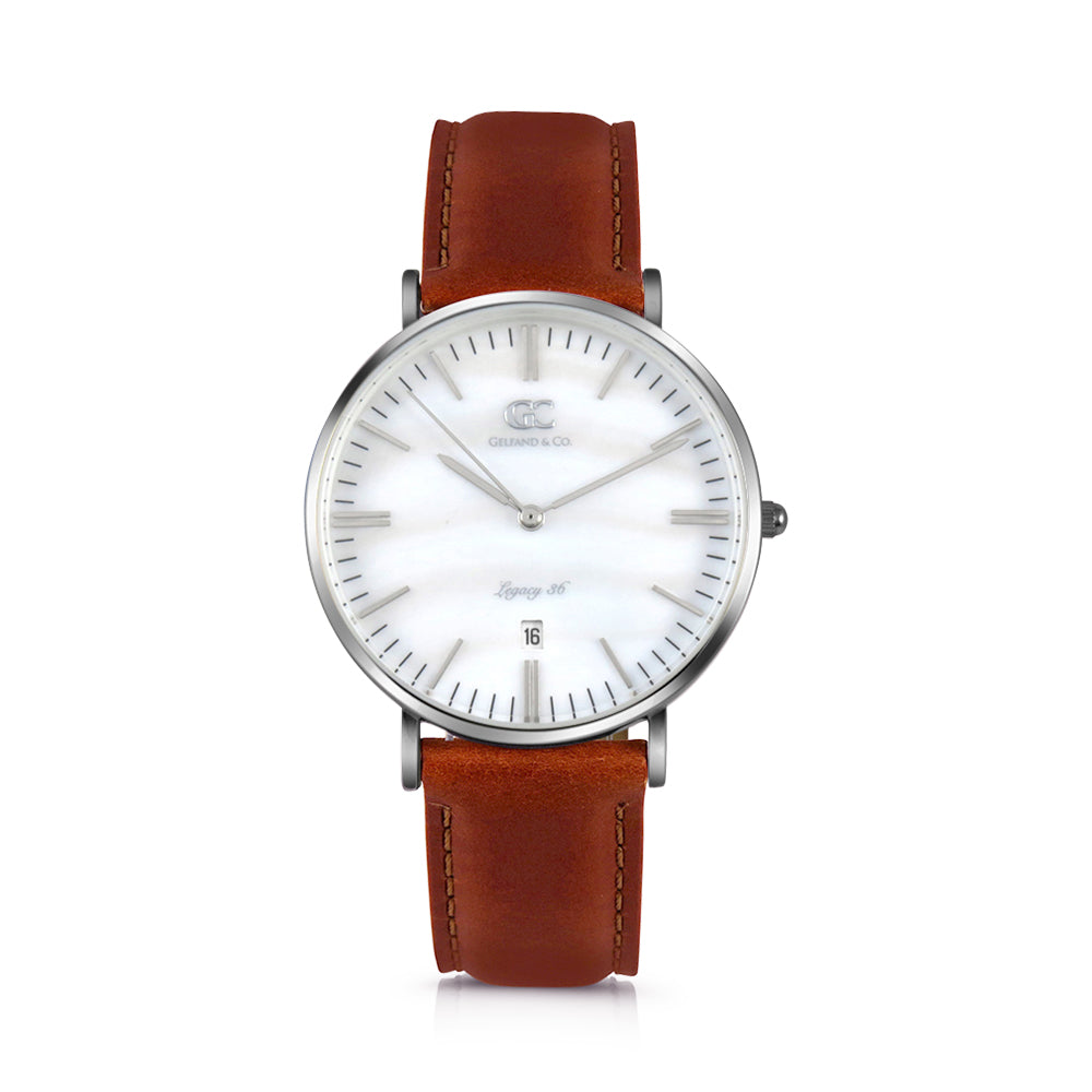 36mm Trinity TL13631 White Pearl Silver Brown Leather Women's Watch