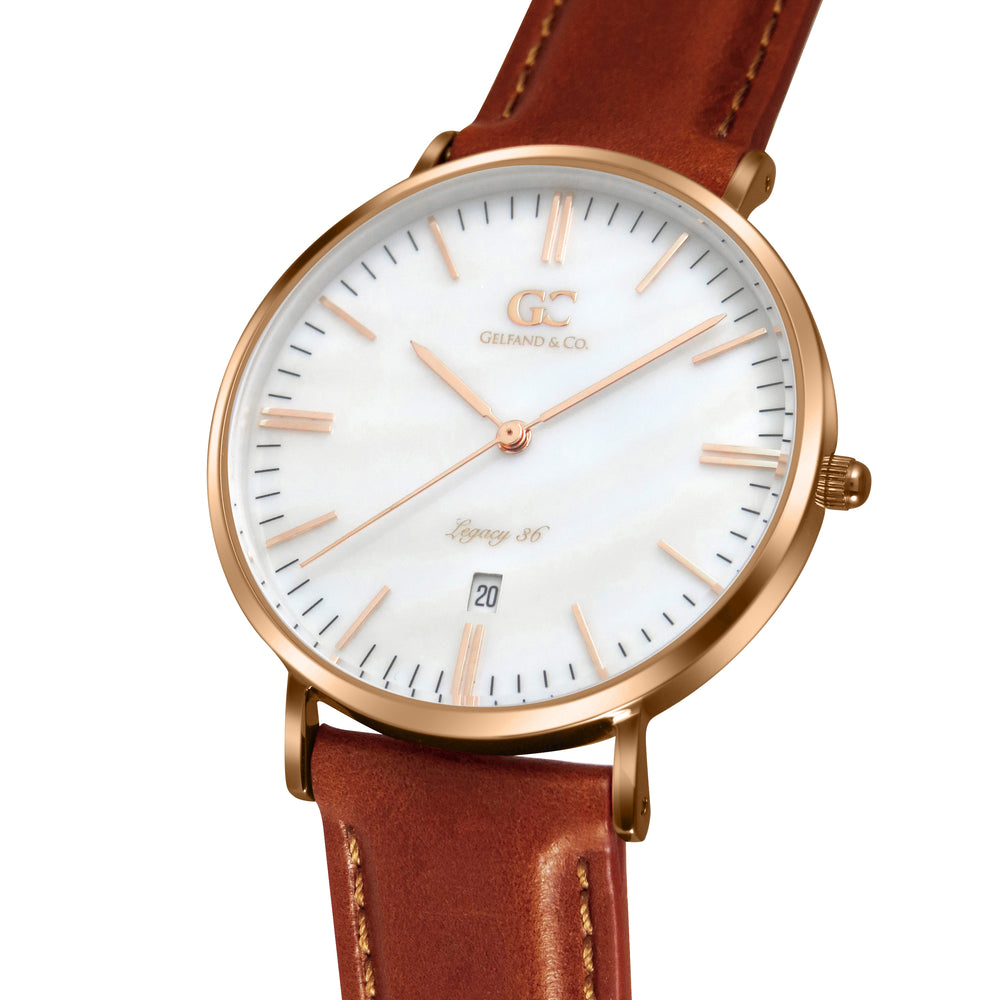 36mm Trinity TL13632 White Pearl Rose Gold Brown Leather Women's Watch