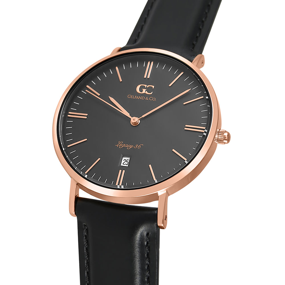 36mm Varick TL13662 Black Rose Gold Black Leather Strap Women's Watch