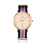 36mm Vestry TL13658 Peach Rose Gold Pink White Navy Blue Nylon Nato Band Strap Women's Watch