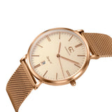 36mm Waverly TL13656 Peach Rose Gold Mesh Band Strap Women's Watch