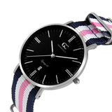 36mm York TL13669 Black Silver White Pink Navy Blue Nylon Nato Strap Band Women's Watch