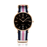 36mm York TL13670 Black Rose Gold White Pink Navy Blue Nylon Nato Strap Band Women's Watch