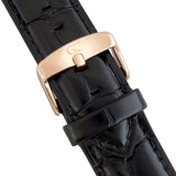 20mm Black Crocodile Leather Rose Gold Buckle Watch Band Strap Men's