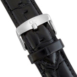 20mm Black Crocodile Leather Silver Buckle Watch Band Strap Men's