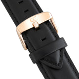40mm Webster TL14020 Black Rose Gold Black Leather Strap Men's Watch