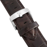 40mm Essex TL14011 White Silver Brown Crocodile Leather Men's Watch