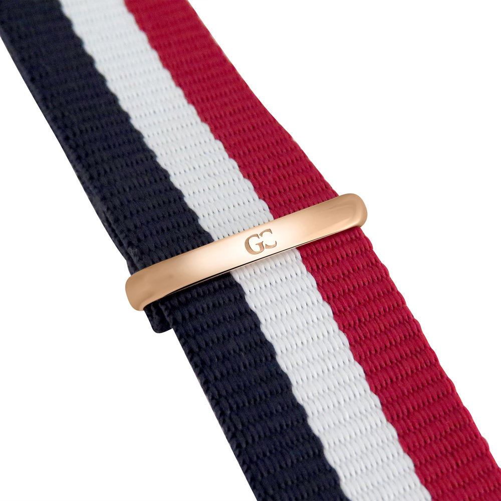 40mm Irving TL14018 White Red Navy Blue Rose Gold Nylon Nato Band Strap Men's Watch