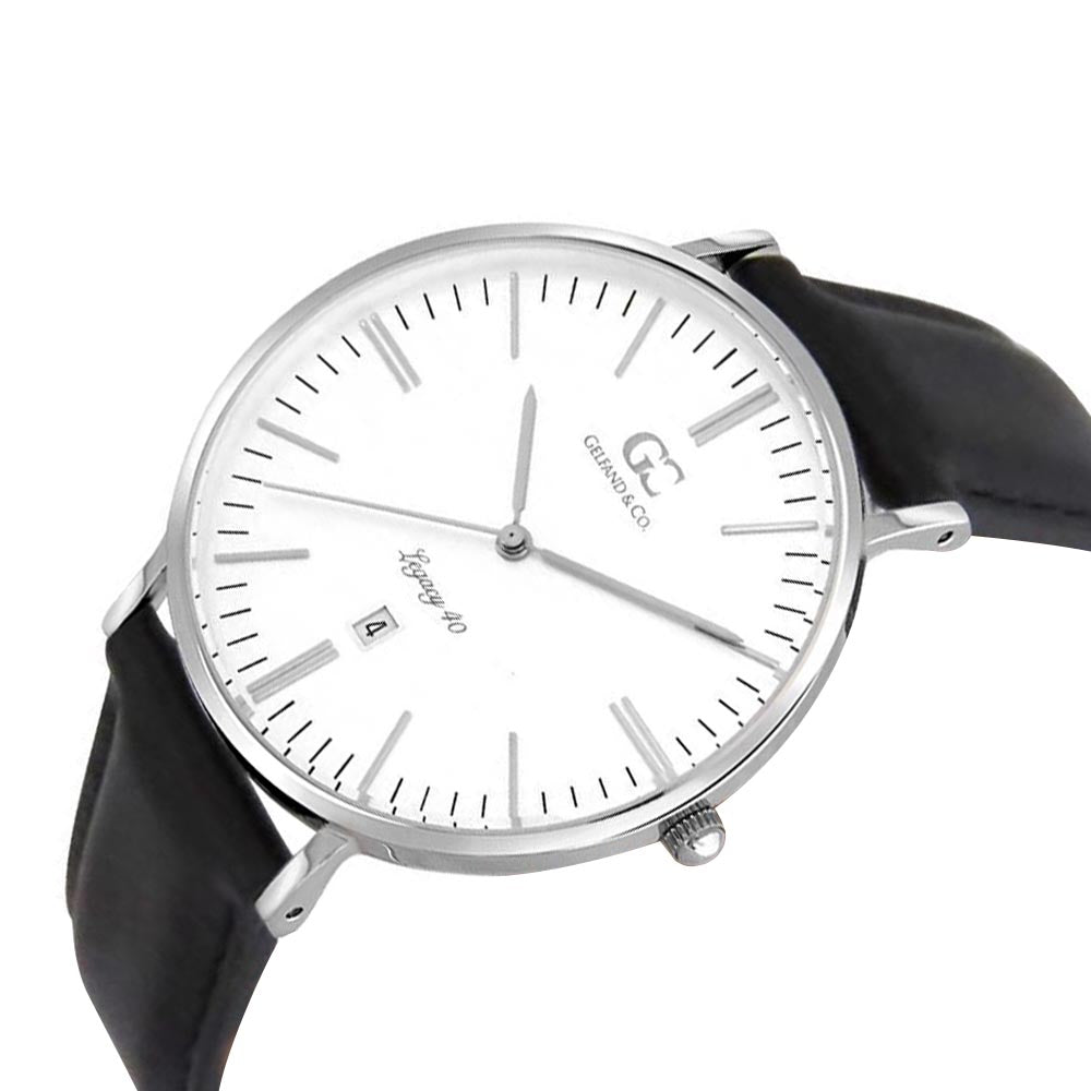 40mm Broadway TL14001 White Silver Black Leather Men's Watch