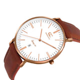 40mm Concord TL14008 White Rose Gold Medium Brown Leather Men's Watch
