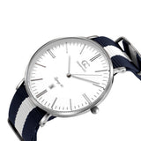 40mm Crosby TL14015 White Navy Blue Silver Nylon Nato Band Strap Men's Watch