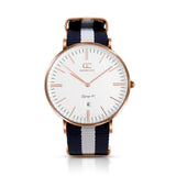 40mm Crosby TL14016 White Navy Blue Rose Gold Nylon Nato Band Strap Men's Watch