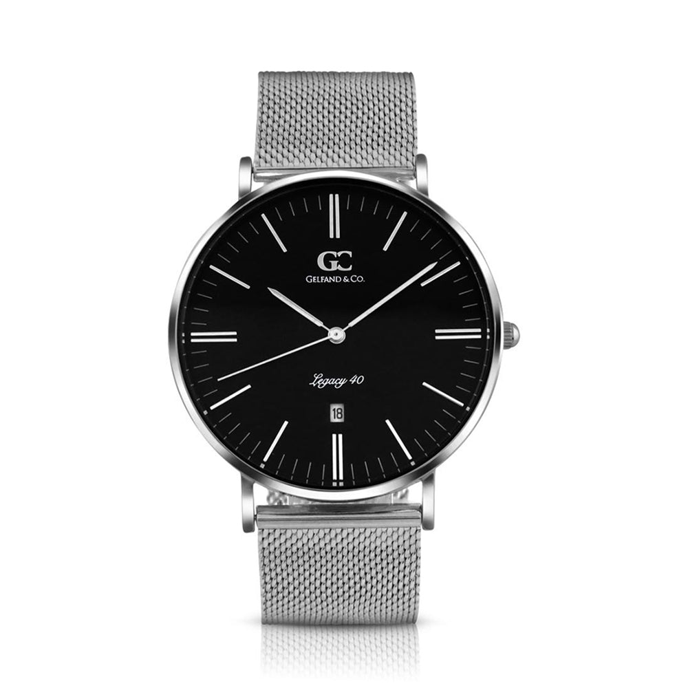 40mm Duane TL14023 Black Silver Mesh Band Strap Men's Watch