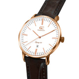 40mm Essex TL14012 White Rose Gold Brown Crocodile Leather Men's Watch