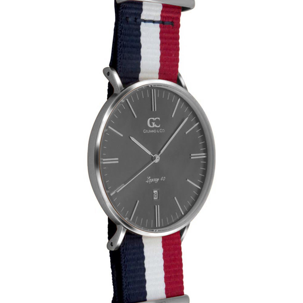 40mm Harrison TL14044 Grey Metallic Silver White Red Navy Blue Nylon Nato Band Strap Men's Watch