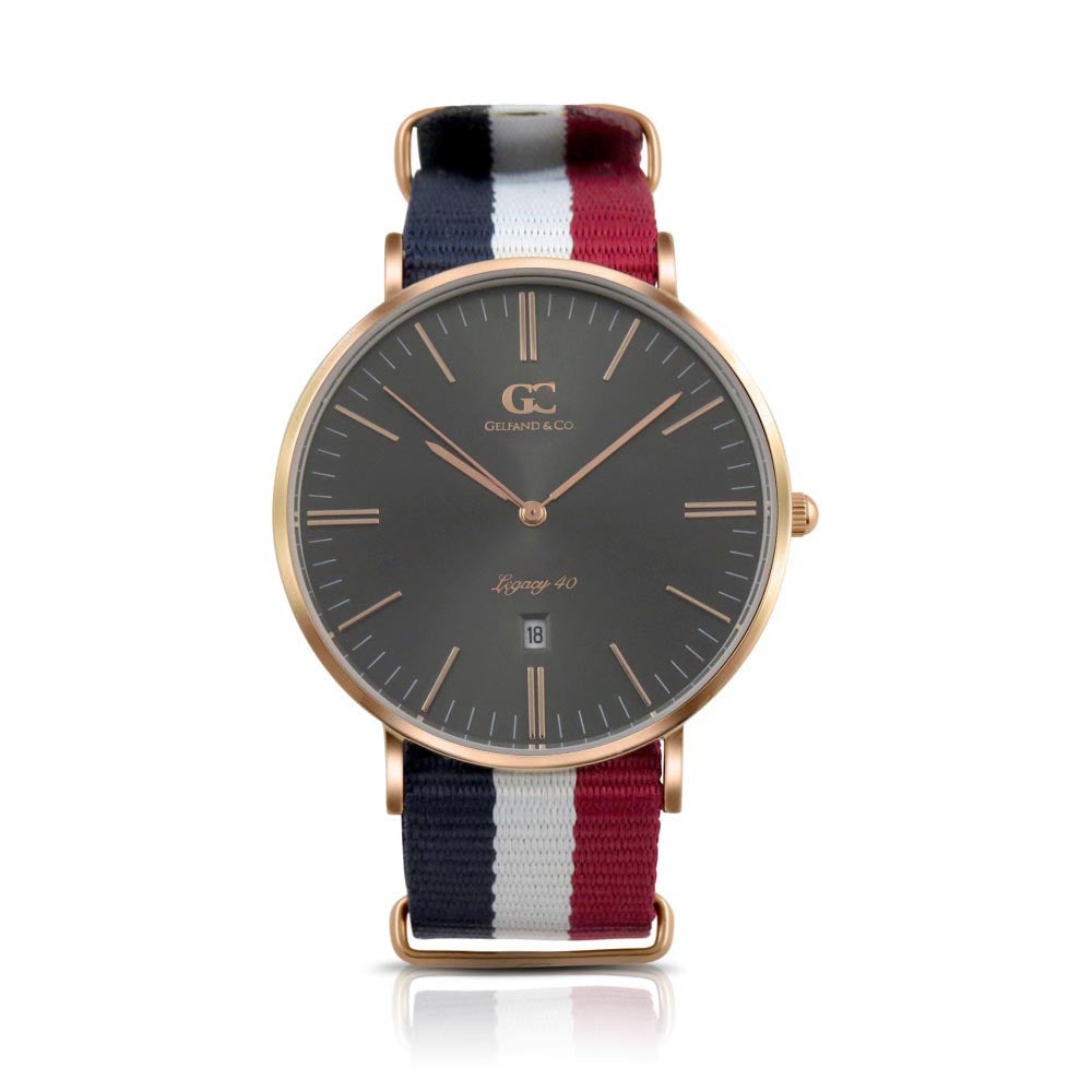 40mm Harrison TL14045 Grey Metallic Rose Gold White Red Navy Blue Nylon Nato Band Strap Men's Watch
