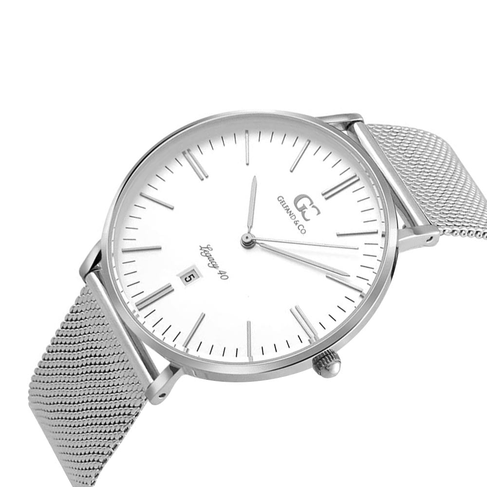 40mm Houston TL14013 White Silver Mesh Band Strap Men's Watch