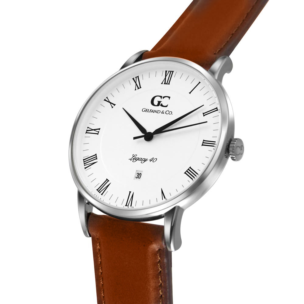 40mm Hubert RN14005 White Silver Light Brown Leather Men's Watch