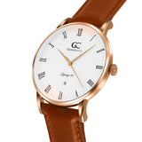 40mm Hubert RN14006 White Rose Gold Light Brown Leather Men's Watch
