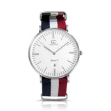 40mm Irving TL14017 White Red Navy Blue Silver Nylon Nato Band Strap Men's Watch
