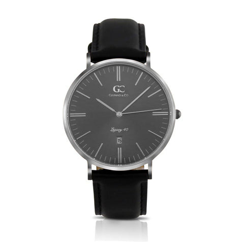 40mm Lafayette TL14036 Grey Metallic Silver Black Leather Strap Men's Watch