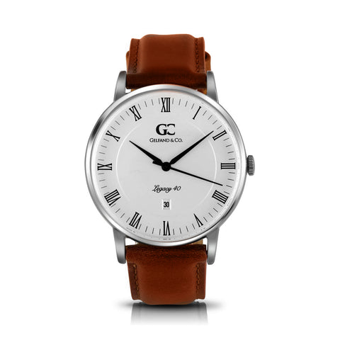 40mm Leroy RN14007 White Silver Medium Brown Leather Men's Watch
