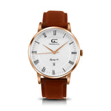 40mm Leroy RN14008 White Rose Gold Medium Brown Leather Men's Watch