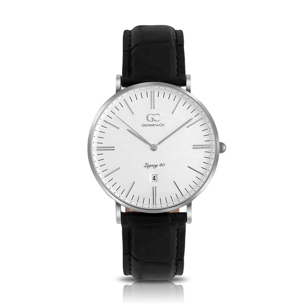 40mm Lexington TL14003 White Silver Black Crocodile Leather Men's Watch